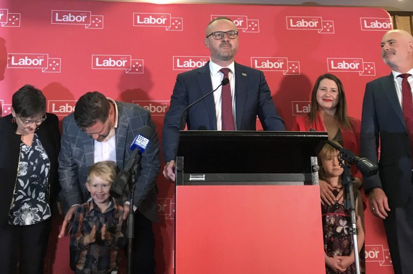 Andrew Barr giving victory speech after ACT election.